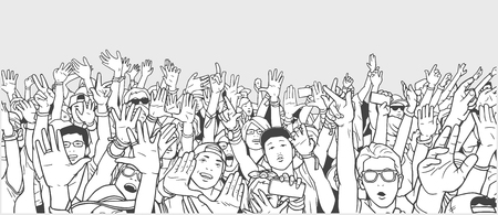 popular: Illustration of partying crowd with raised hands