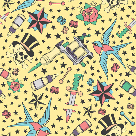 Seamless pattern with traditional tattoos, tattoo equipment and piercings in vintage color Illustration