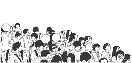 Illustratie van vreedzaam Aziatisch menigteprotest met kinderen en lege ballons