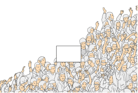 Illustration of crowd protest with blank sign from high angle view
