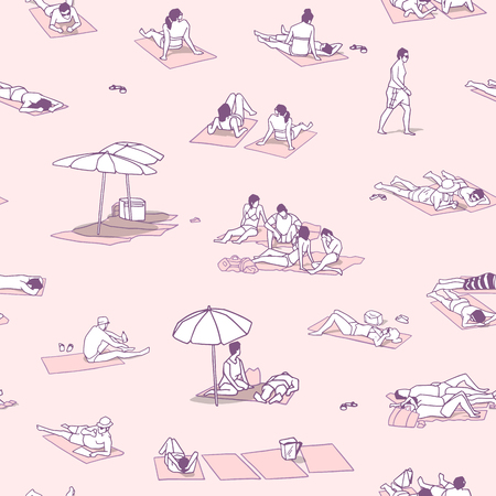 Seamless pattern / background / texture with people sunbathing on sand beach with vintage colors