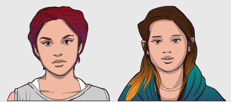 Geïsoleerde portretten van Spaanse en Zuidoost-Aziatische meisjes in kleur Stock Illustratie