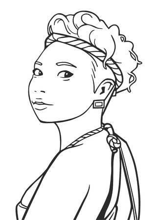 fictional character: Illustration young asian girl wearing festival outfit
