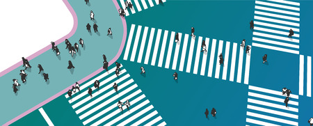 Illustration of busy street crossing from high angle view in color