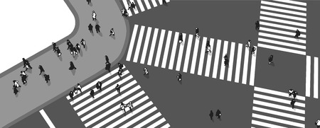 Illustration of busy street crossing from high angle view in grey scale Çizim