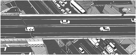Illustration of rush hour traffic from high angle view in grey scale