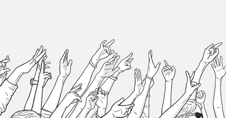 Illustration of crowd cheering with raised hands at music festival Vektorové ilustrace