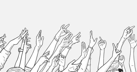 Ilustración de la multitud que anima con las manos levantadas en el festival de música Ilustración de vector