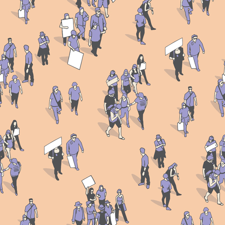 Seamless texture  pattern  background with demonstrating crowd in vintage colors