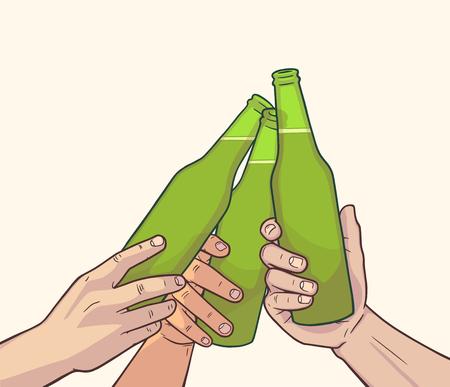 Illustration of raised beer bottles in vintage colors. Cheers
