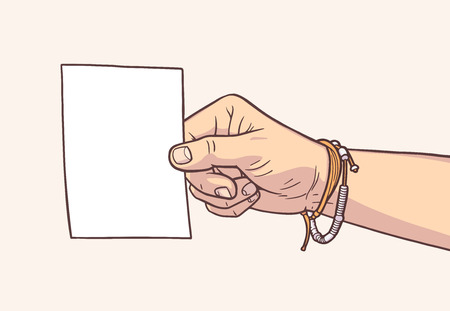 Illustration of hand holding blank piece of paper in vintage colors