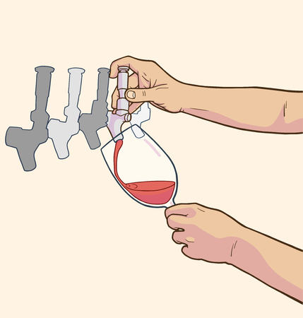 Illustration of male hands pouring red wine from tap in color Çizim