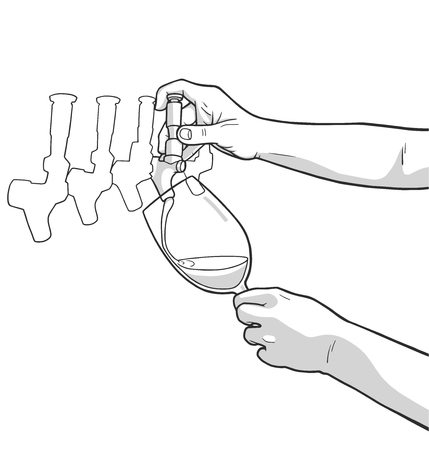 Illustration of male hands pouring red wine from tap
