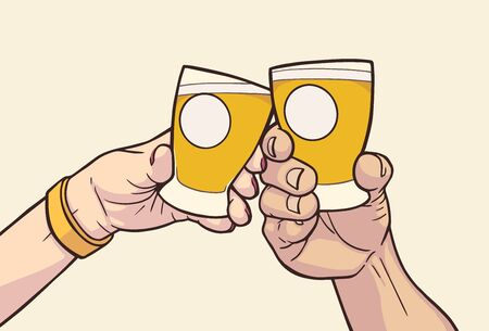 Illustration of male and female hands raising glasses with blank signs in vintage colors. Cheers Çizim
