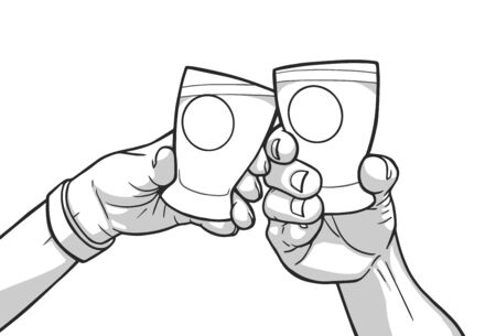 Illustration of male and female hands raising glasses with blank signs. Cheers Illustration