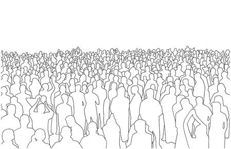Illustration d'une grande masse de personnes en perspective Vecteurs
