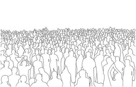Illustration of large mass of people in perspective
