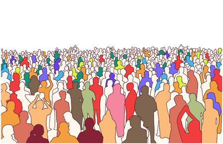 Illustrazione di una grande massa di persone in prospettiva Vettoriali