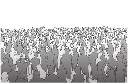 Illustrazione di grande massa di persone in prospettiva