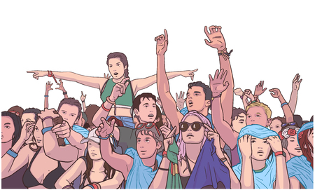 Illustration of mixed ethnic festival crowd partying in the rain Ilustração