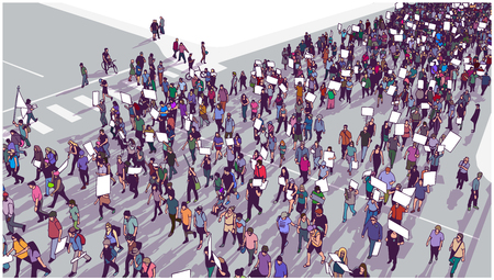 Illustration of crowd marching and demonstrating for equality in color Illustration