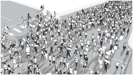 Illustration of crowd marching and demonstrating for equality Illustration