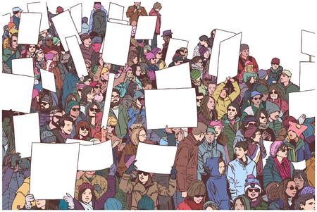 Illustrazione della folla che marcia e che dimostra per l'uguaglianza