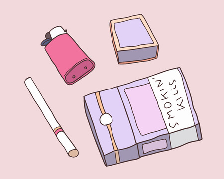 Illustration of pack of cigarettes, matches and lighter in color