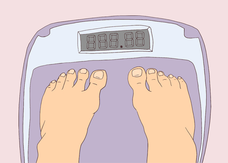 Illustration of bare feet standing on scale in color