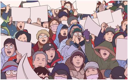 Illustrazione della folla etnica miste protestando con segni in bianco