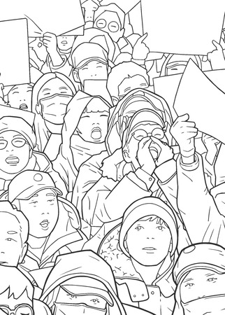 Illustration of mixed ethnic crowd protesting with blank signs Illustration