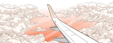 Illustration of airplane flying over clouds in sunset Illustration