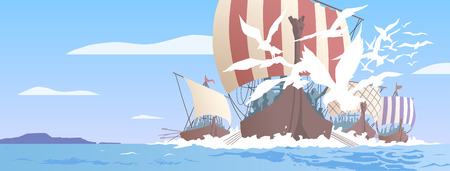 Illustration of viking ships navigating on sea