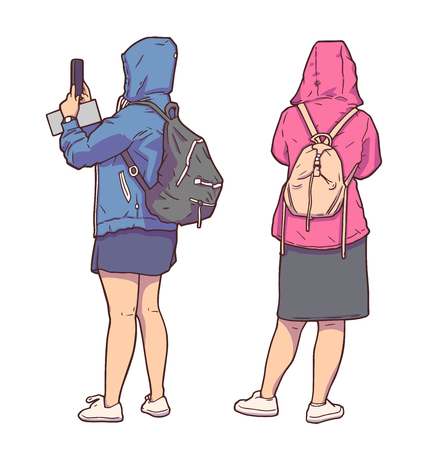 Isolated illustration of tourist girls sightseeing, taking pictures and wearing raincoats in color