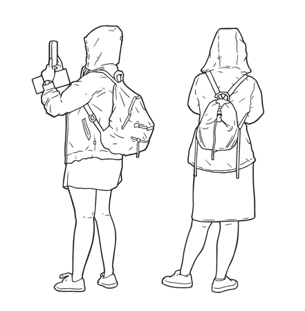 Isolated illustration of tourist girls sightseeing, taking pictures and wearing raincoats Illustration