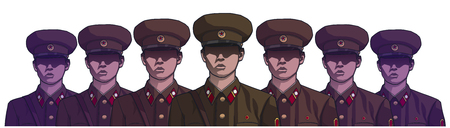Illustration of north korean soldiers wearing uniform in color 向量圖像