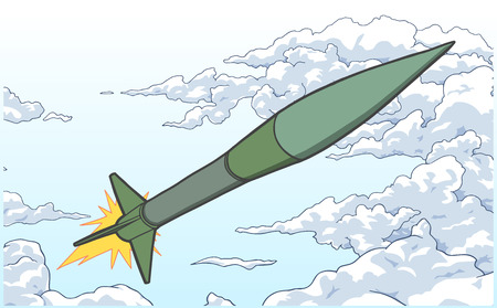 Illustration of ballistic missile ascending among clouds in color