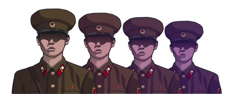 Illustration of north korean soldiers wearing uniform in color Ilustração