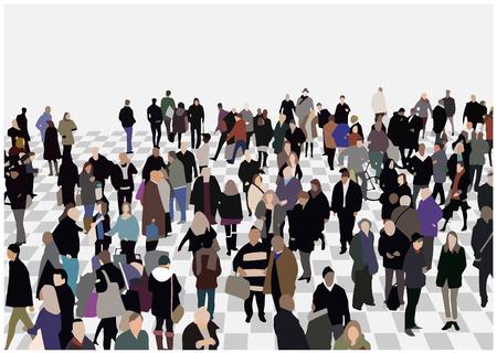 色、視点で混雑した会場の図