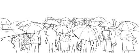 レインコートで雨の横断歩道で待っている人々 の群集のイラスト。 写真素材 - 88611503