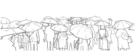 Illustration of crowd of people waiting at street crossing in the rain with rain coats. Illustration