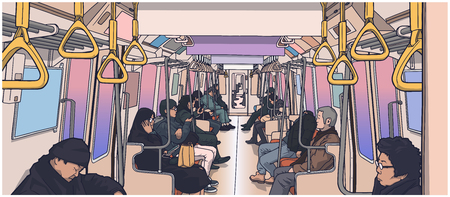 Illustration of people inside the train.