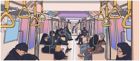 Illustrazione di persone all'interno del treno.