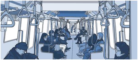 電車の中の人々 のイラスト。