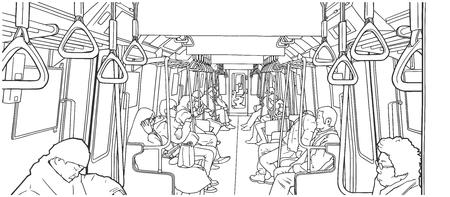 기차 안에 사람들의 그림입니다.