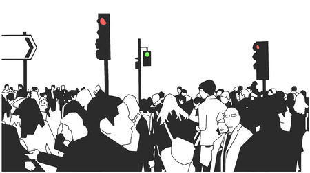 Illustration of people crowd walking on the street with traffic lights. Illustration