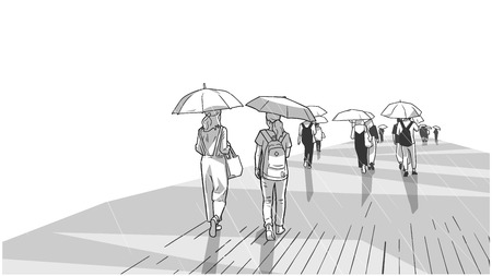 Illustration of people walking in the rain in perspective black and white view.