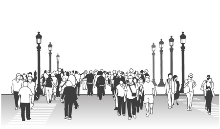 People crossing street with street lamps in black and white perspective view. Illustration