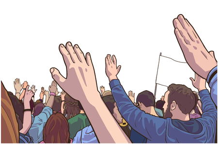 Illustration of protesting crowd with students and blank flag in color