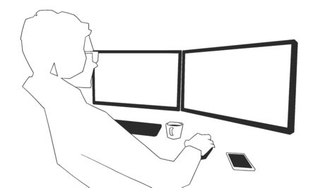 Illustration of young male office worker working on computer with blank monitors in black and white Illustration